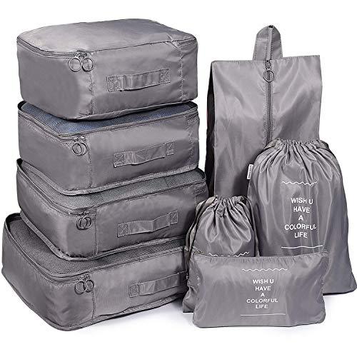 Reise Kleidertaschen, 8 Stück Wasserdicht Reisegepäck Organisator Kompressionsbeutel Reisegepäck Organizer für Rucksack Koffer, grau Wasserdichte 8