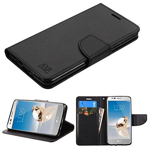 MYBAT PU Leder Kupplung Tasche Geldbörse mit Kreditkarte Slots Schwarz 0.4lb (Schutzhülle + Stift) passend für LG l58vl Rebel 2/K42017/M153Fortune/K82017/MS210LV3/Aristo/M150Phoenix 3/PP2/M210/V3