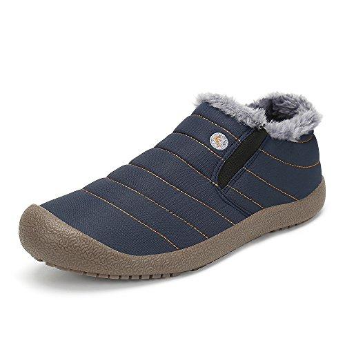 SAGUARO® Herren Damen Winterschuhe Warm Gefütterte Boots Stiefelette Outdoor Schneestiefel Winter Schuhe,Low top blau,42 EU