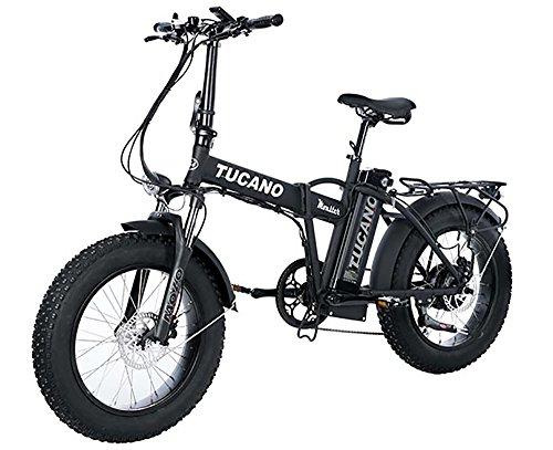 fatbike mit federung 'Tucano Bikes Monster 20Limited Edition. Elektrisch Klappbar Fahrrad 20Motor 500W–supensión vorne–Höchstgeschwindigkeit 33km/h–LCD Display–Bremse Hydraulische, mattschwarz