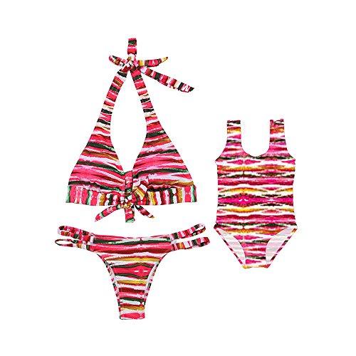 Maillot de Bain en Motif de Rayure de Couleur Bikini de 1pc et de 2pc pour Parent-Enfant