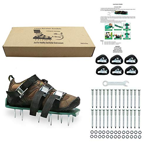 ZDTech 3 Riemen Rasenlüfter Schuhe, Rasenbelüfter Sandalen 5 cm Lange Bodennägeln für Haus und Garten (1 Paar ) Grün