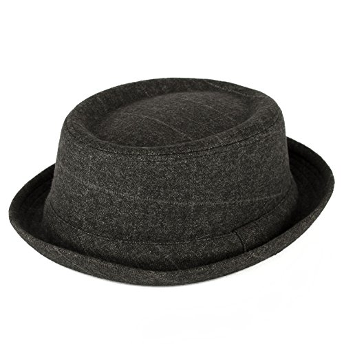 Unisex Grey Check Pork Pie Hat