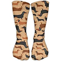 pigyear888 Cool Crazy Retro Dachshunds Pattern Pattern Novelty Funny Cotton Crew Dress Socks
