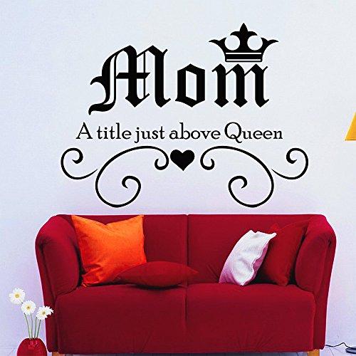 decorrooms Familie Wandsticker Love Zitat Mom Ein Titel nur vor Queen Vinyl Aufkleber Aufkleber Krone Schlafzimmer Innen Design Art Wandbild Kinderzimmer Decor