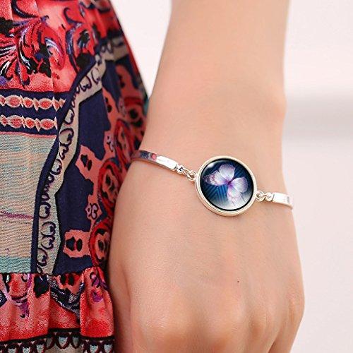 Jiayiqi Joli Papillon Insecte Verre Temps Gemme Bracelet Manchette En Pour Femmes Filles No 3