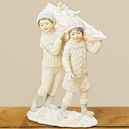 Tamia-Home Deko-Figur Aufsteller Weihnachten Winter Kinder Mädchen Ina Baum H23cm Pink Blau
