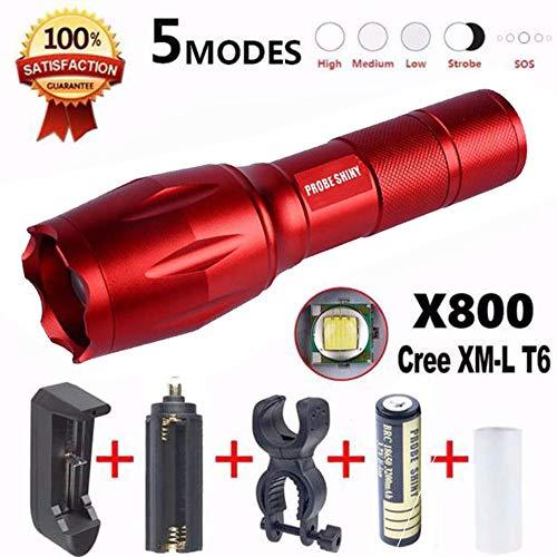 Conjunto de Linterna,Lonshell Portátil Linterna,2000 Lúmenes 5 Modos X800 Flashlight Cree XM-L T6 LED Zoomable Militar Antorcha G700 + Batería 18650 + Cargador de Batería + Adaptador De La EU (Rojo)