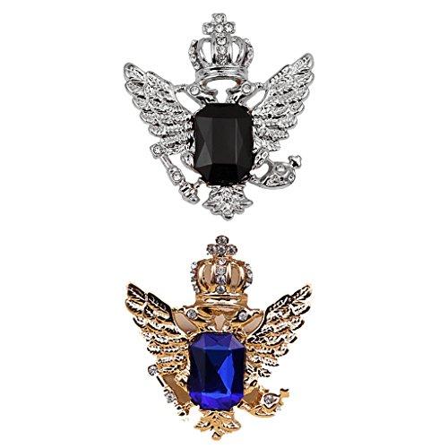 FLAMEER 2pcs Vintage Blue/Black Strass Crown Eagle Kragen Brosche Für Männer