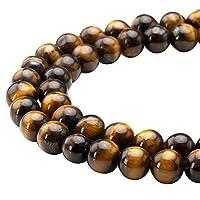 Top Plaza Natural Tiger Eye Round Loose Gemstone Beads (SIze:10mm)