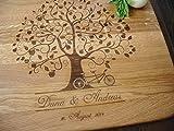 Personalisiertes Schneidebrett Handgefertigt mit Apfelbaum, Tandem. Fahrrad. Frühstücksbrettchen. Käse, Brot Schneidebrett, Jede Nachricht, Personalisierbar mit Lasergravur