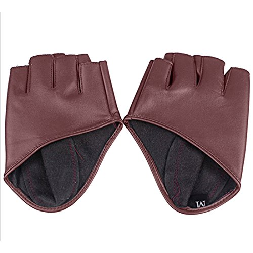Fahion Guantes de cuero para mujer medio dedo Dancing Female Glove Accessories-Brown