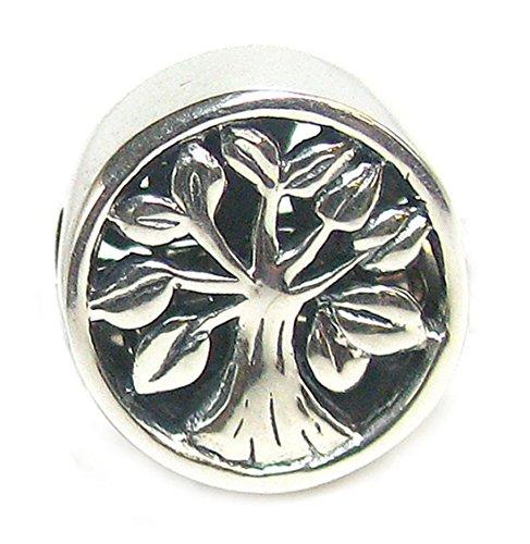 Queenberry - Ciondolo in argento Sterling rotondo con albero della vita, per braccialetti di tipo Pandora, Troll, Chamilia, Biagi e altri bracciali europei con ciondoli - Live Love Laugh Bracciale