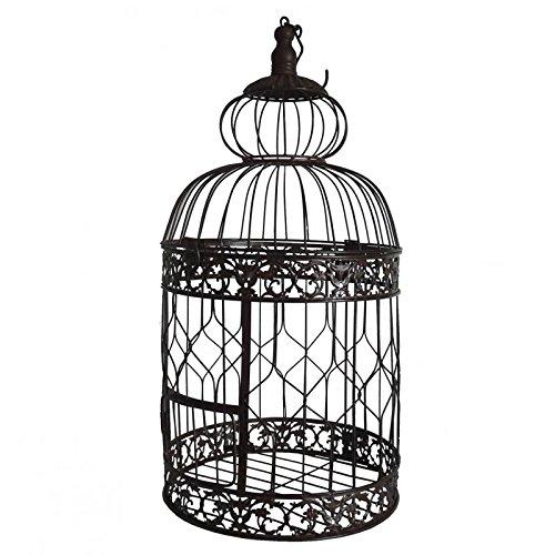 Grande Cage à Oiseaux à Poser ou Volière Enclos à Volatiles Ronde à Suspendre en Fer Patiné Marron 29x29x67cm