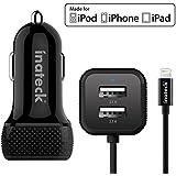 [Apple Certified] Inateck 33W 3 porte USB Car Charger (2.1A Porta USB x 2 + 2.4A Integrato Lighting Cable) con Tecnologia di Carica Intelligente per iPhone, iPad, Samsung Galaxy S6, incluso un cavo USB Micro 1.2m / 4ft -Nero