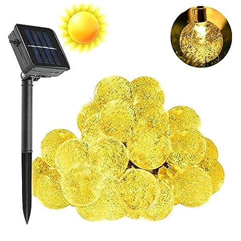 Agooding 20FT / 6M Solar-Lichterketten Weihnachten dekorative, 30 LED-Kristall-Blase Globe Beleuchtung für Outdoor, Garten, Weihnachtsbaum, Hochzeit, Party und Feiertags-Dekorationen (Warmes Weiß)