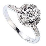 18K Oro Blanco Natural Redondo Diamante Anillos de Compromiso, Mujeres Hombres Pareja Anillo Conjunto para el Regalo del día de San Valentín, joyería de Compromiso de Boda,21(19.2mm)
