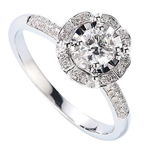 atürliche Runde Diamant-Verlobungsringe, Frauen Männer Paar Ring Set, Hochzeit Engagement Schmuck,5(13.7mm) ()