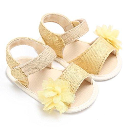 Baby Schuhe Auxma Baby Blumen Sandalen Kleinkind Mädchen Schuhe für 3-6 6-12 12-18 Monat (6-12 M, Schwarz) Gelb