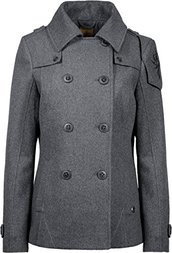 Musterbrand Dragon Age Jacke Damen Seeker Peacoat Wollmantel Grau 34 (XS) - 3