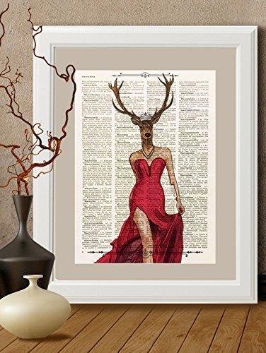 stampa-cervo-signora-in-rosso-su-pagina-di-libro-antico