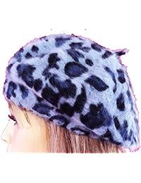 LadyMYP©Baskenmütze, Animal Print, Leopard, langhaariger Angora-Wolle, Mütze, Barett in verschiedenen Farben
