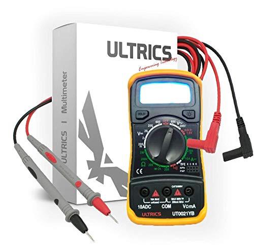 ULTRICS FBA-0021-YB - Multimetro Digital, Profesional Voltimetro Amperimetro, Tester Ohmímetro AC DC Circuit Diode, Amarillo y negro