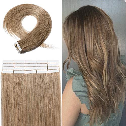 Extensions Adhesives Cheveux Naturel Rajout Cheveux Naturel 100% Cheveux Humain Remy Pose a Froid 20 Pièces (#27 Blond Foncé, 18\