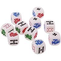 MagiDeal 10pcs / Conjunto Juegos de Mesa Dados Seis Lados 12mm para Casino Poker Card