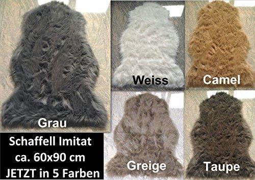 Schaffell Lammfell Fell Teppich Imitat Kunstfell Auflage Bettvorleger Schaf Lamm ca. 60x90 cm (Camel)