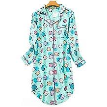 Pijama Mujer Algodon Invierno Manga Larga Ropa de Dormir Tallas Grandes Camison Botones Pijamas