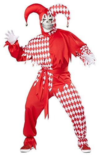 Hofnarr Kostüm Rot und Weiss Fasching Karneval Verkleidung Herren Größe L
