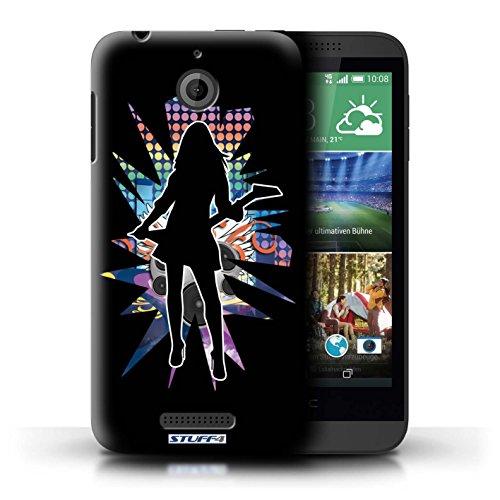 Kobalt® Imprimé Etui / Coque pour HTC Desire 510 / Pencher Noir conception / Série Rock Star Pose Rock Dame Noir