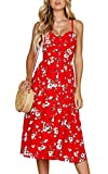 Angashion Damen V Ausschnitt Spaghetti Buegel Blumen Sommerkleid Elegant Vintage Cocktailkleid Kleider, Größe: L, Farbe: 0860 Rot