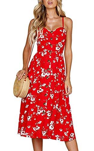Angashion Damen V Ausschnitt Spaghetti Buegel Blumen Sommerkleid Elegant Vintage Cocktailkleid Kleider Blau 0860Rot S
