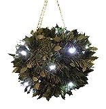 Große, künstliche LED-Buchsbaumkugel, batteriebetrieben, grün, Lichterkette zum Aufhängen