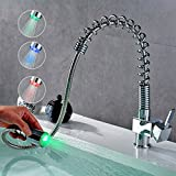 Auralum Romantic Luminous Modern Taps Mixer Kitchen Sink Taps Pull Out Sprayer Swivel Spring Spout Taps Multi-functional Luxury Chrome Faucets LED RGB