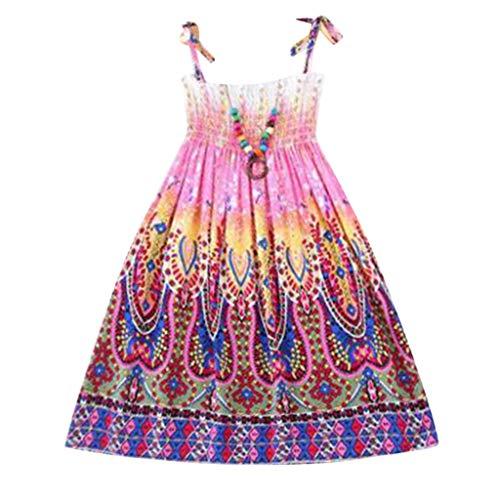 JUTOO Säuglingskindermädchenbaby-Kleidungs-Nationale Art mit Blumenböhmisches Strandgurt-Kleid (Lila,120)