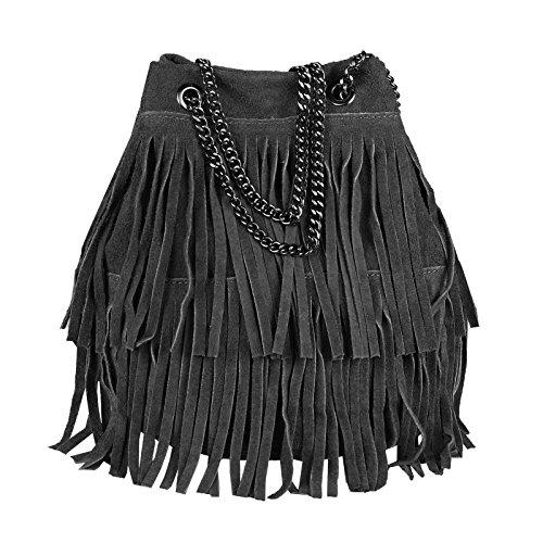 OBC Made in Italy Damen Leder Tasche Fransen Shopper Kettentasche Beutel Wildleder Handtasche Umhängetasche Bucket Bag Schultertasche Ledertasche (Schwarz 20x25x19 cm) -