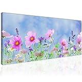 Topquadro XXL Wandbild, Leinwandbild 100x50cm, Violette Blumen mit Lavendel, Bunte und Feine Wanddeko - Bild auf Leinwand - Fertig Zum Aufhängen