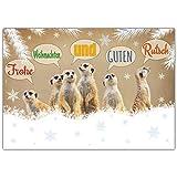 A4 XXL Weihnachtskarte ERDMÄNNCHEN mit Umschlag - edle & lustige Klappkarte für Kollegen Freunde Verwandte - Frohe Weihnachten Karte von BREITENWERK