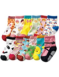 Aipark 12 Paires de Chaussettes Antidérapants en Coton avec des Petits Picots en bas pour les Bébés de 12 à 36 mois, Soquettes Bébé avec Motif Sympa, Tiennent bien en Machine de Lavage