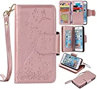 iPhone 6s Plus / iPhone 6 Plus Case, KKEIKO® iPhone 6 Plus / iPhone 6s Plus Wallet Case [with Free Tempered Glass Screen Protector], PU Leather Flip Cover with Card Slots, Hand Strap and Stand, Wallet Book Style Holster Case with Shock-Absorption Cover f