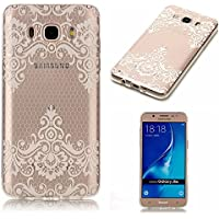 For Galaxy J5 2016 Case [Non-Slip],Vandot [Drop Protection] Ultra THIN Lightweight Premium Soft TPU Silicone [Crystal Clear] Snap-on Exact Fit with NO Bulkiness Case for Samsung Galaxy J5 J510-White Lace Flower