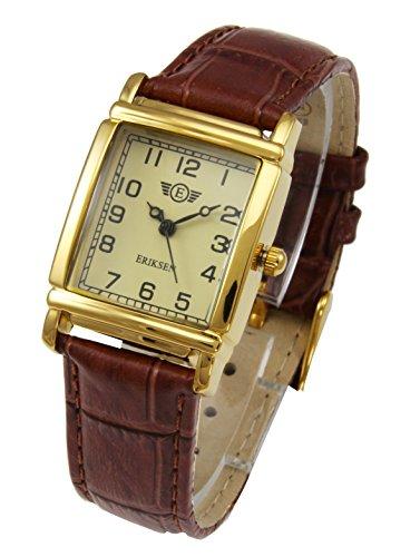 Eriksen Damen Classic Vergoldet Quarz rechteckig Kleid Uhr mit Analog-Anzeige und braunem Lederband LG