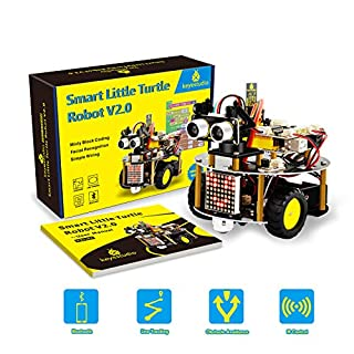 keyestudio Smart Robot Car Kit Upgrade Smart Little Turtle Robot V2.0 with UNO R3, Line Tracking Module, Ultrasonic Sensor, Motor Driver Shield etc for Arduino Robot Kit
