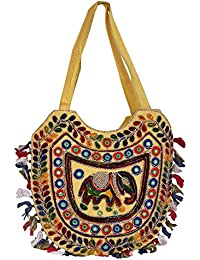 Decot Women's Cotton Elegant Floral Embroidery Hand Bag (Yellow)