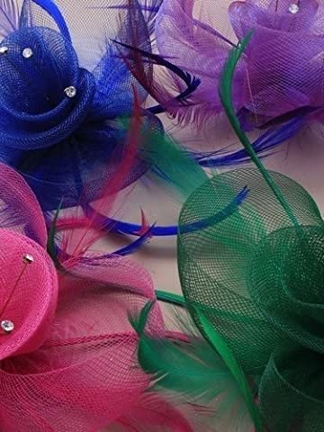 Pink Hessian Net Flower Fascinator With Feathers & Crystal Centre Various Colours
