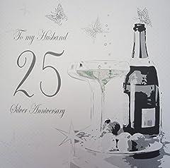 Idea Regalo - WHITE COTTON CARDS Biglietto di auguri realizzato a mano per 25° anniversario di matrimonio (nozze d'argento), per il marito [lingua inglese]