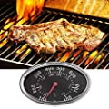 Hergon Edelstahl Grillthermometer bis 800?, Thermometer für alle Grills, Ofen, Smoker, Räucherofen und Grillwagen, analog, Grillzubehör